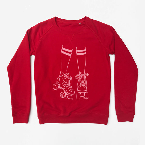 Roller Skates Red Ladies Sweatshirt xx L left xx