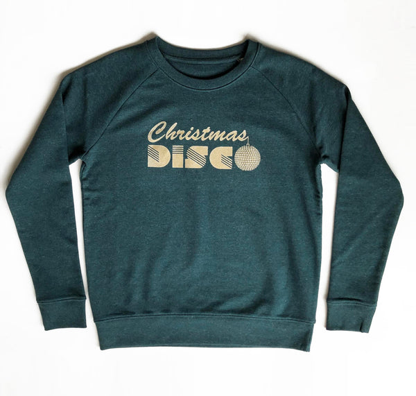 Christmas Disco Ladies Sweatshirt Dark Green Marl