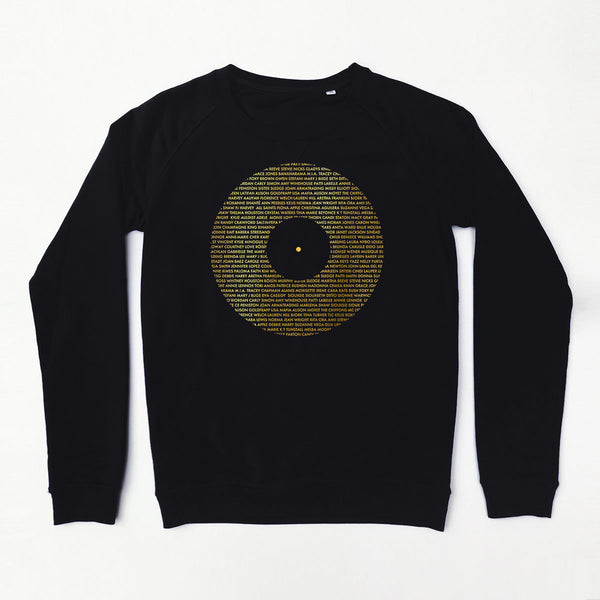 Record Ladies Sweatshirt Black & Gold Xx 2XL left xx