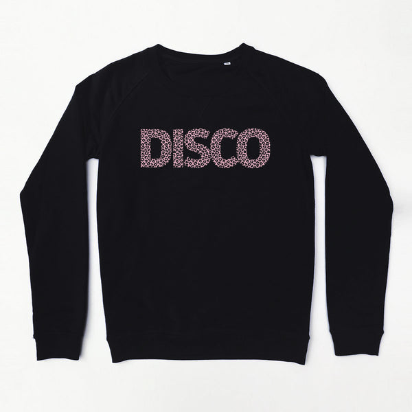 Leopard Disco Ladies Sweatshirt Black