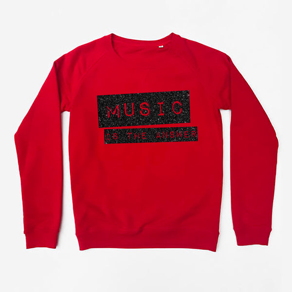 Music Is The Answer Ladies Sweatshirt Red  Slim Fit