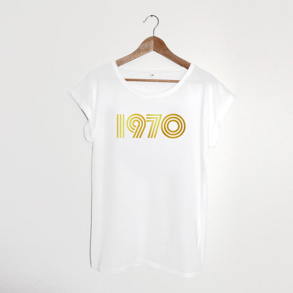 1970 White  / Gold Ladies T-shirt