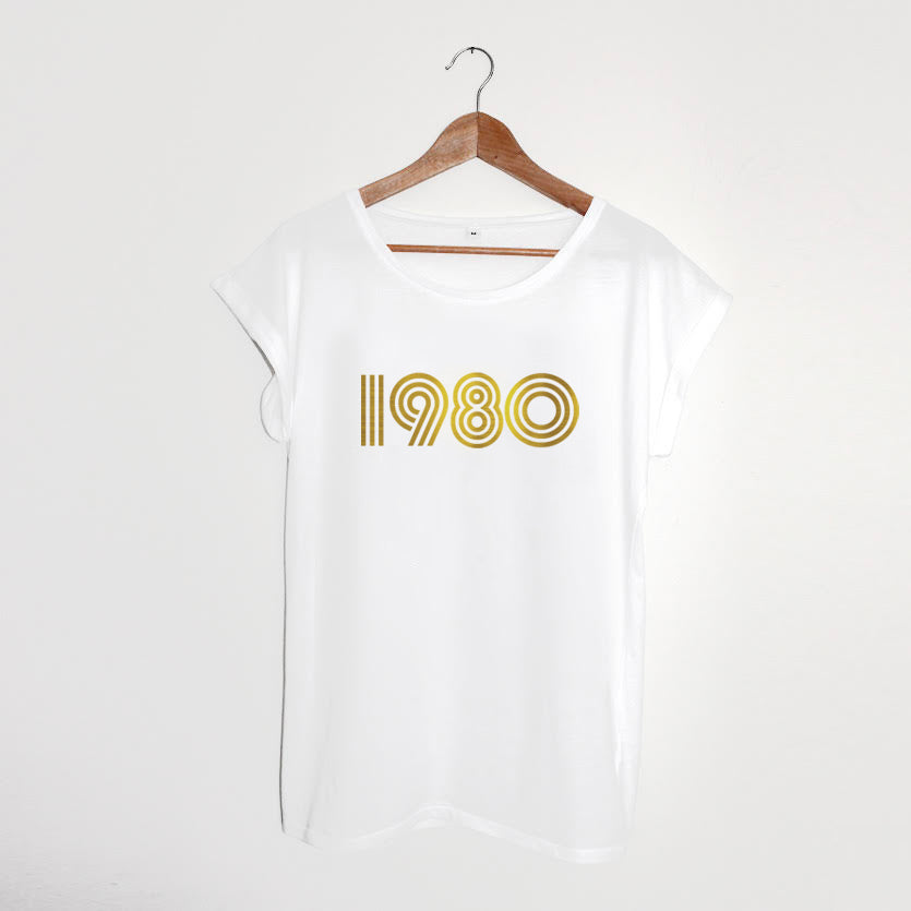 1980 White / Gold Ladies T-shirt Limited xx S & L left xx