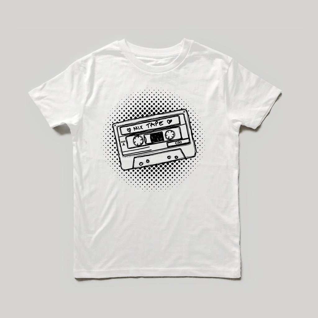 Mixtape T-shirt White xx 6-12 / 12-18 & 3-4rs leftxx