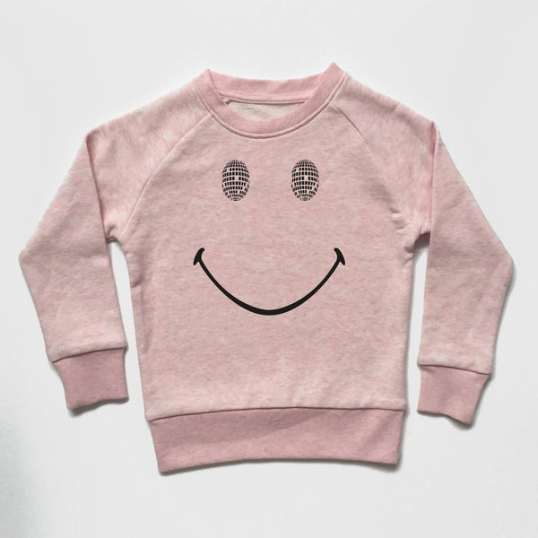 Disco Smile Kids Sweatshirt Pale Pink
