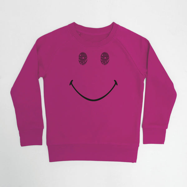Disco Smile Kids Sweatshirt Raspberry