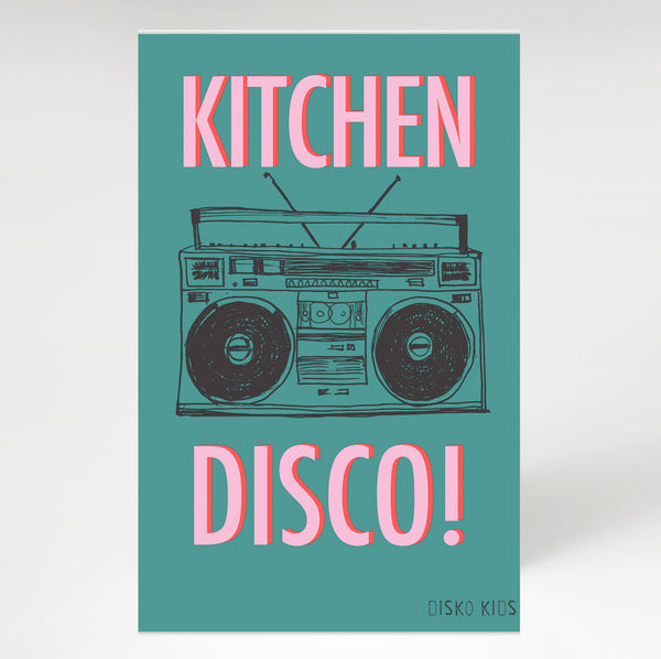 Kitchen Disco Tea Towel Teal