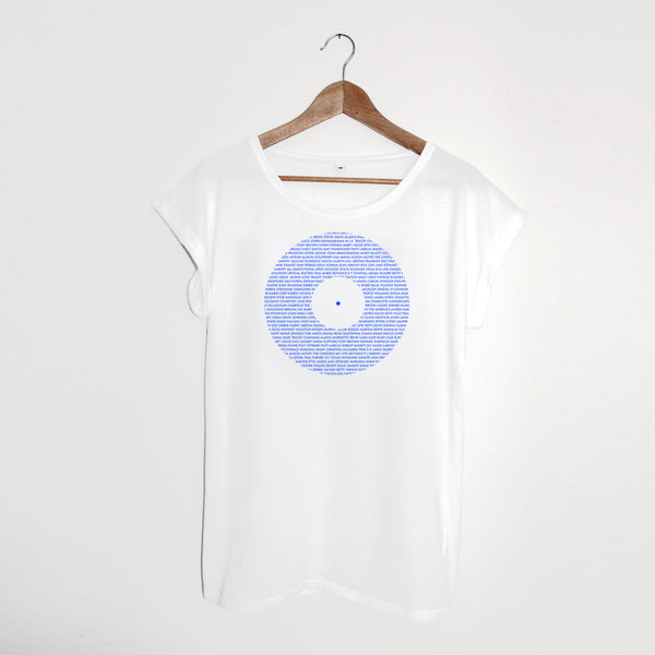 Record Ladies White / Blue Tshirt xx Large left xx