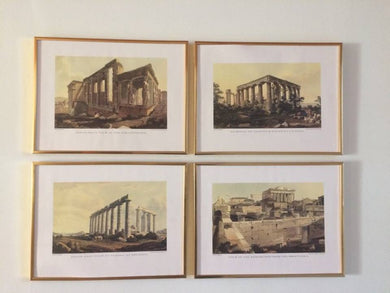 Views in Athens by Edward Dodwell - Set of Four Framed Reprints- Ariston Books