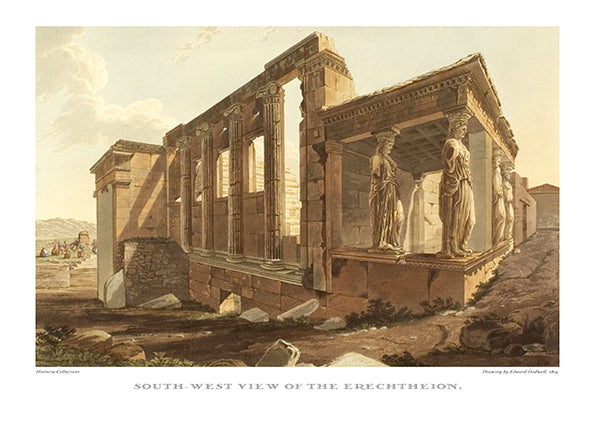 Edward Dodwell: South-west view of the Erechtheion-Ariston Books