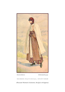 Nicholas Sperling: Greek traditional costume, Peasant woman's costume, Karpaci of Cyprus-Ariston Books