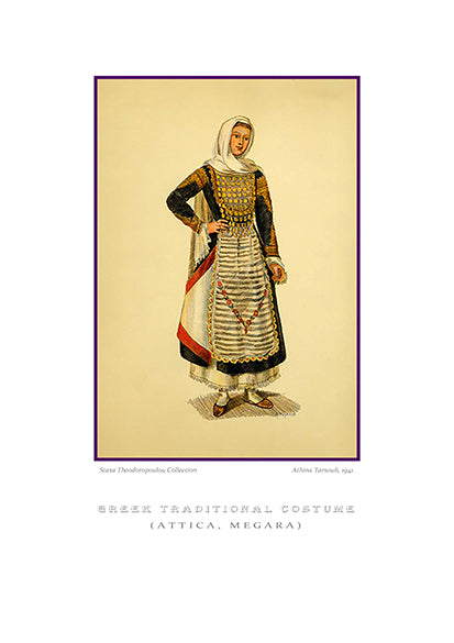 Athina Tarsouli: Greek traditional costume, Megara of Attica-Ariston Books