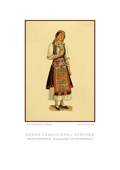 Athina Tarsouli: Greek traditional costume, Antartiko of Florina, Macedonia-Ariston books