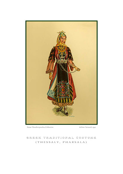 Athina Tarsouli: Greek traditional costume, Pharsala of Thessaly-Ariston Books