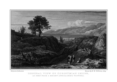 H. W. Williams: General view of Corinthian Shore, as seen from a height approaching Vostizza-Ariston Books
