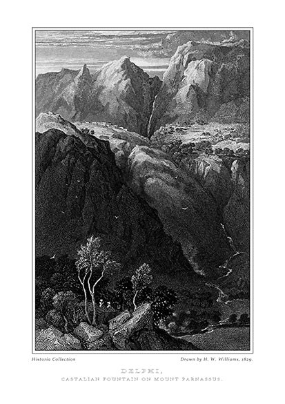 H. W. Williams: Delphi, Castalian fountain on Mount Parnassus -Ariston Books