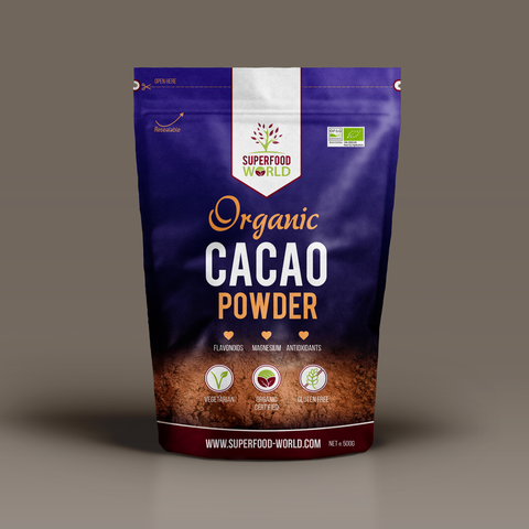 Organic Peruvian Raw Cacao - Premium Cocoa Powder 500g - Nature's Chocolate Powder Rich in Magnesium & Flavonoids - Ideal for Hot Chocolate, Smoothies & Baking