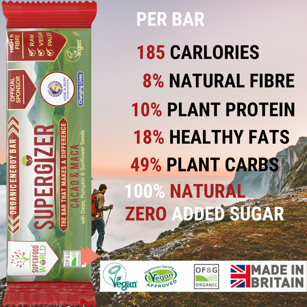 SUPERGIZER Organic Vegan Energy Bars - Box of 24 - Free Shipping
