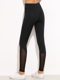 Black Contrast Mesh Leggings