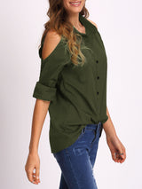 Green Open Shoulder Blouse