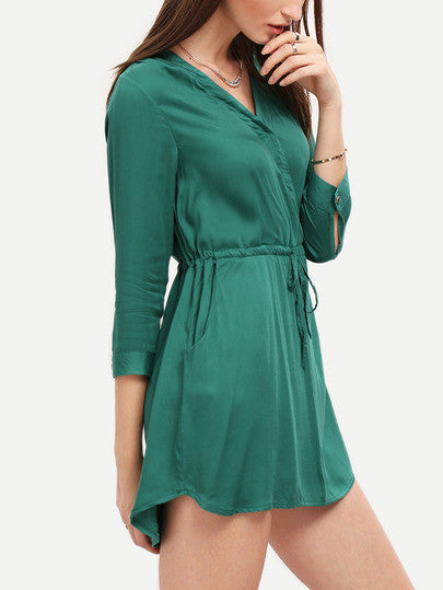 Green V Neck Drawstring Pockets Rockabilly Peasant Blouson Dress