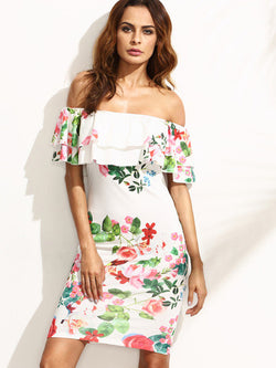 Multicolor Floral Ruffle Off The Shoulder Sheath Dress