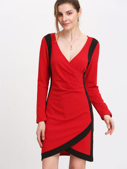Red Plunge Color Block Trims Wrap Dress