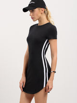 A White Pinstriped Side Tee Dress