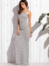 White Striped and Stirred Maxi Dress