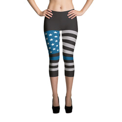 A Think Blue Line- Capri Leggings
