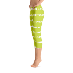 Capri Leggings- Green and White Stripes Spikes
