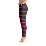 Pink and Black Stripes Leggings