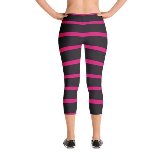 Capri Leggings- Black and Pink Stripes