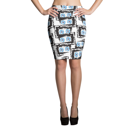 Blue Daisies Pencil Skirt