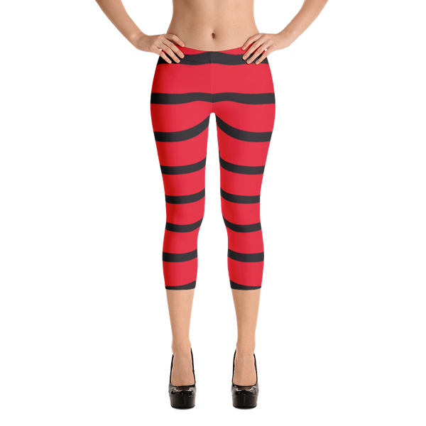 Capri Leggings- Red and Black Stripes