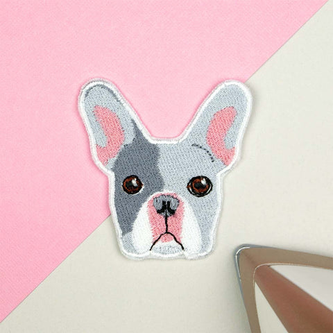 French Bulldog Iron on / Sew on Embroidered Patch by Hatty Hats Embroidery - New Products Blog Image