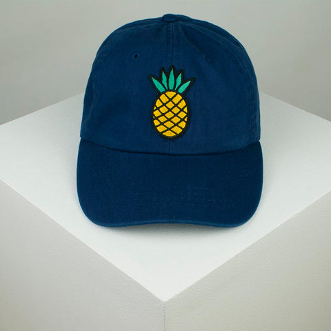 Pineapple Embroidered Baseball Cap - Navy by Hatty Hats Embroidery - Website Product (blog) Image 1