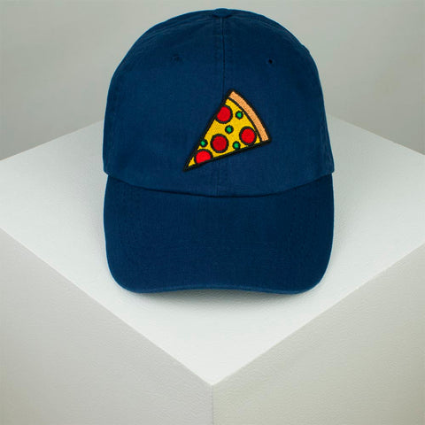 Pizza Slice Embroidered Baseball Cap - Navy by Hatty Hats Embroidery - Website Product (blog) Image 1