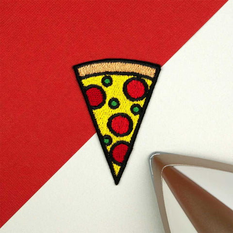 Pizza Slice Iron on / Sew on Embroidered Patch by Hatty Hats Embroidery - New Products Blog Image