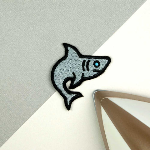 Shark Iron on / Sew on Embroidered Patch by Hatty Hats Embroidery - New Products Blog Image