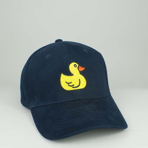 The Rubber Duck Embroidered Baseball Cap - Navy by Hatty Hats Embroidery - Website Blog Image