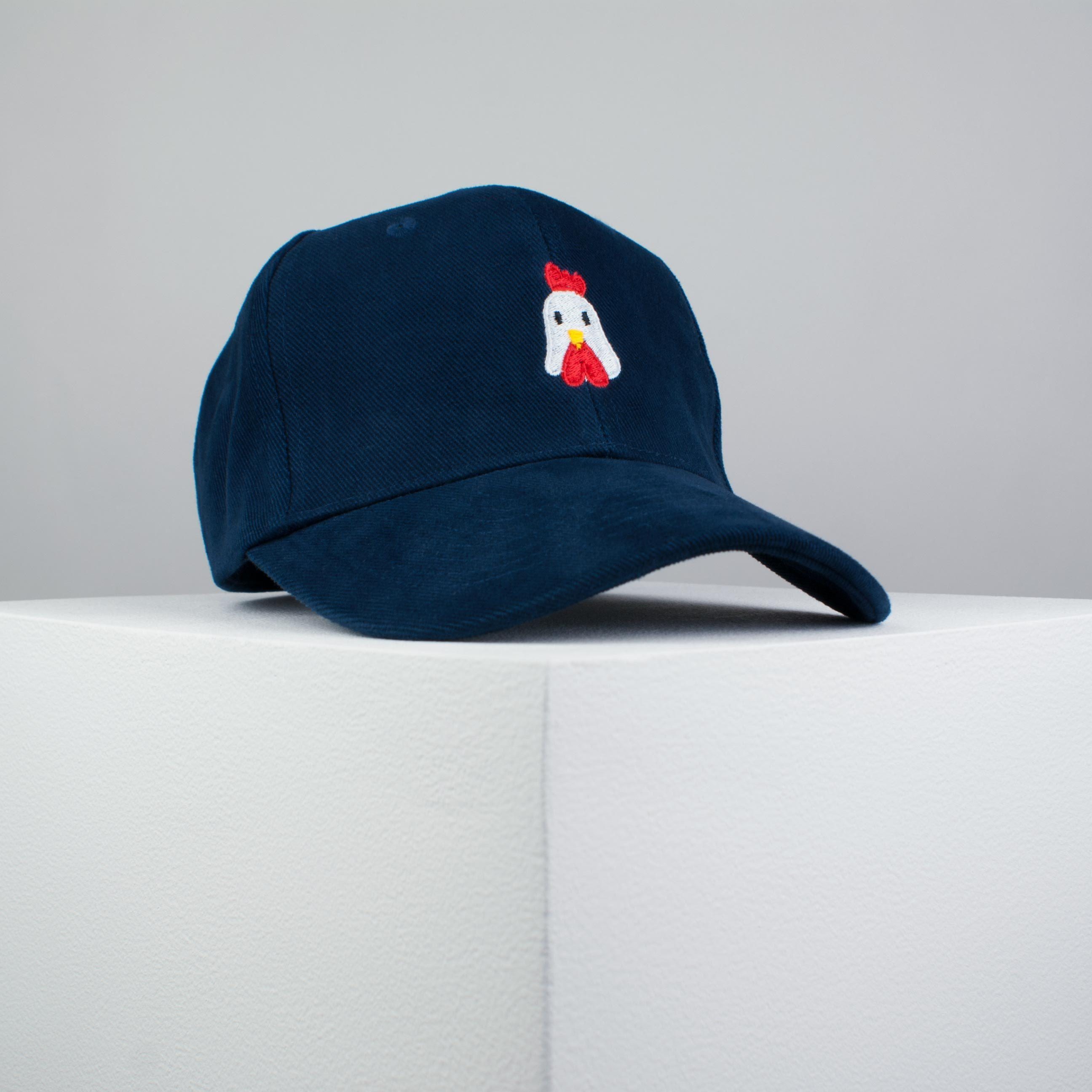 Chicken embroidered baseball cap navy   bird   patches   animal   embroidery    patch ... f6037141075