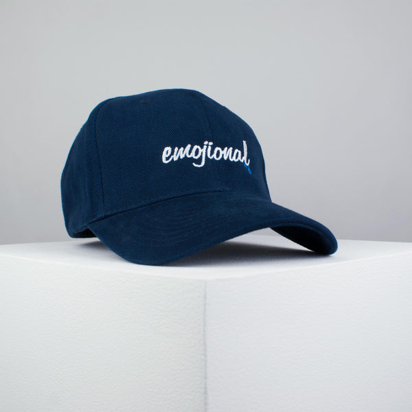 1c14e53fc3694 Emojional embroidered baseball cap navy   emoji   patches   feminist    embroidery   patch