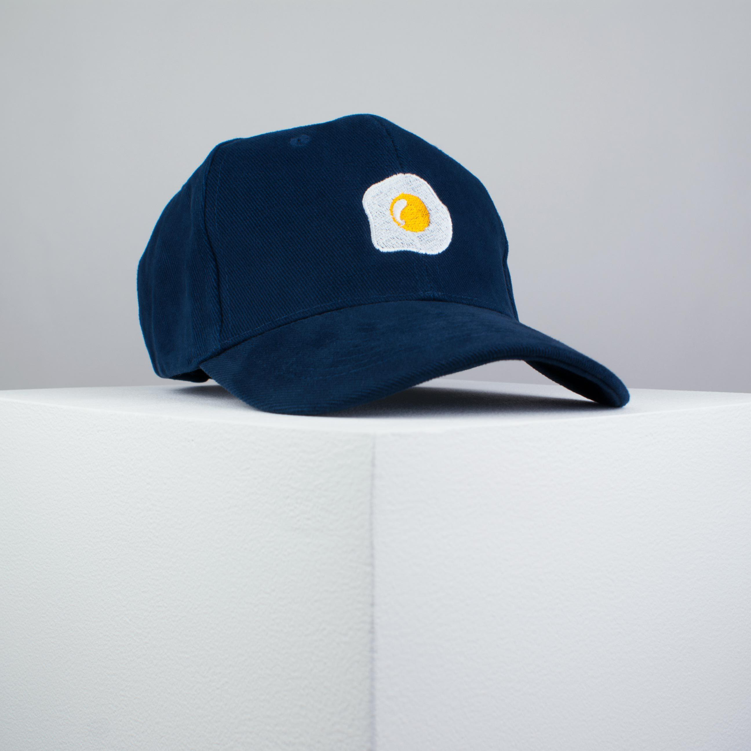 Fried egg embroidered baseball cap navy   food   patches   egg   embroidery    patch ... 4c749f2eda0b