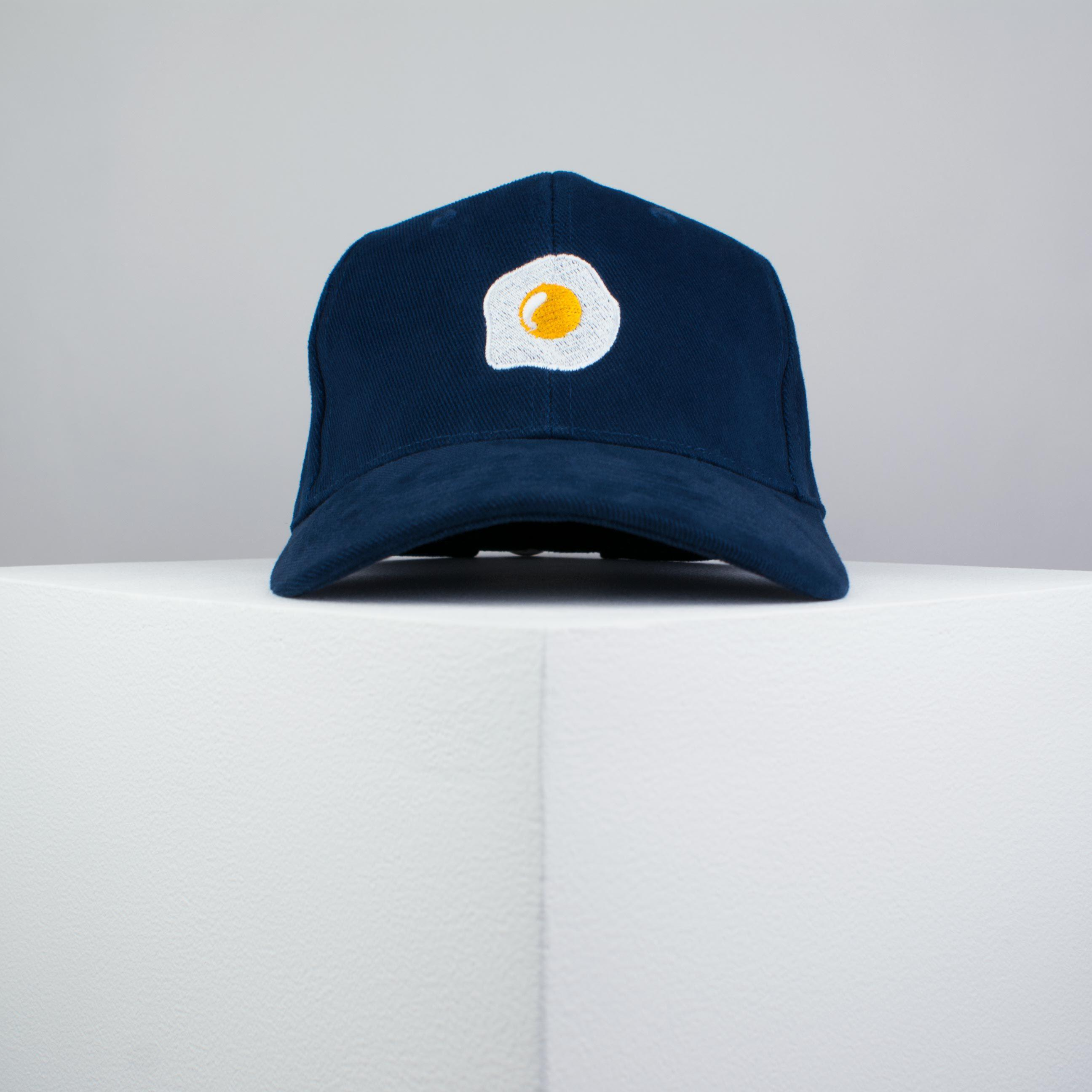 ... Fried egg embroidered baseball cap navy   food   patches   egg    embroidery   patch ... ce80444f4ed7