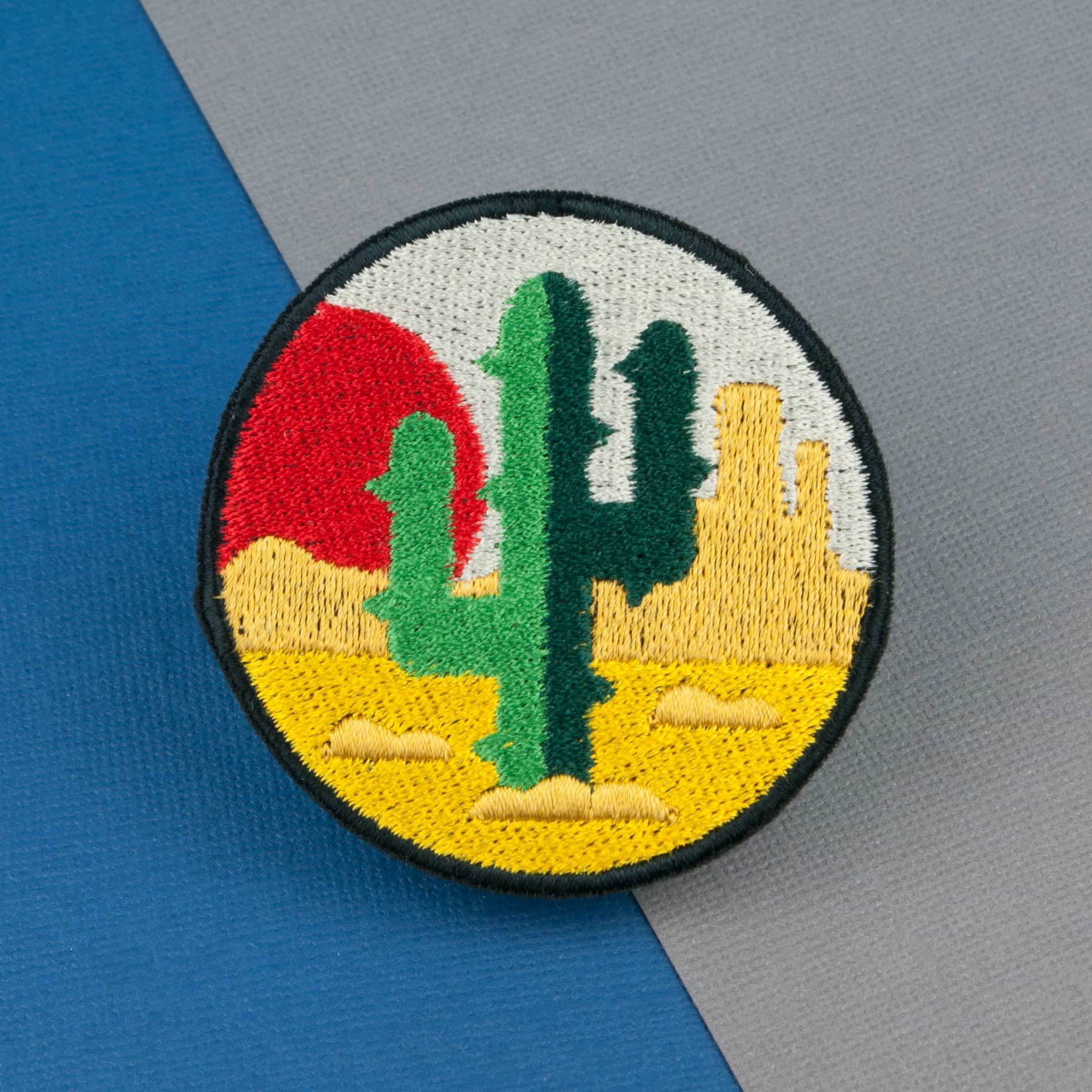 Green Cactus Logo Embroidered Iron On Patch