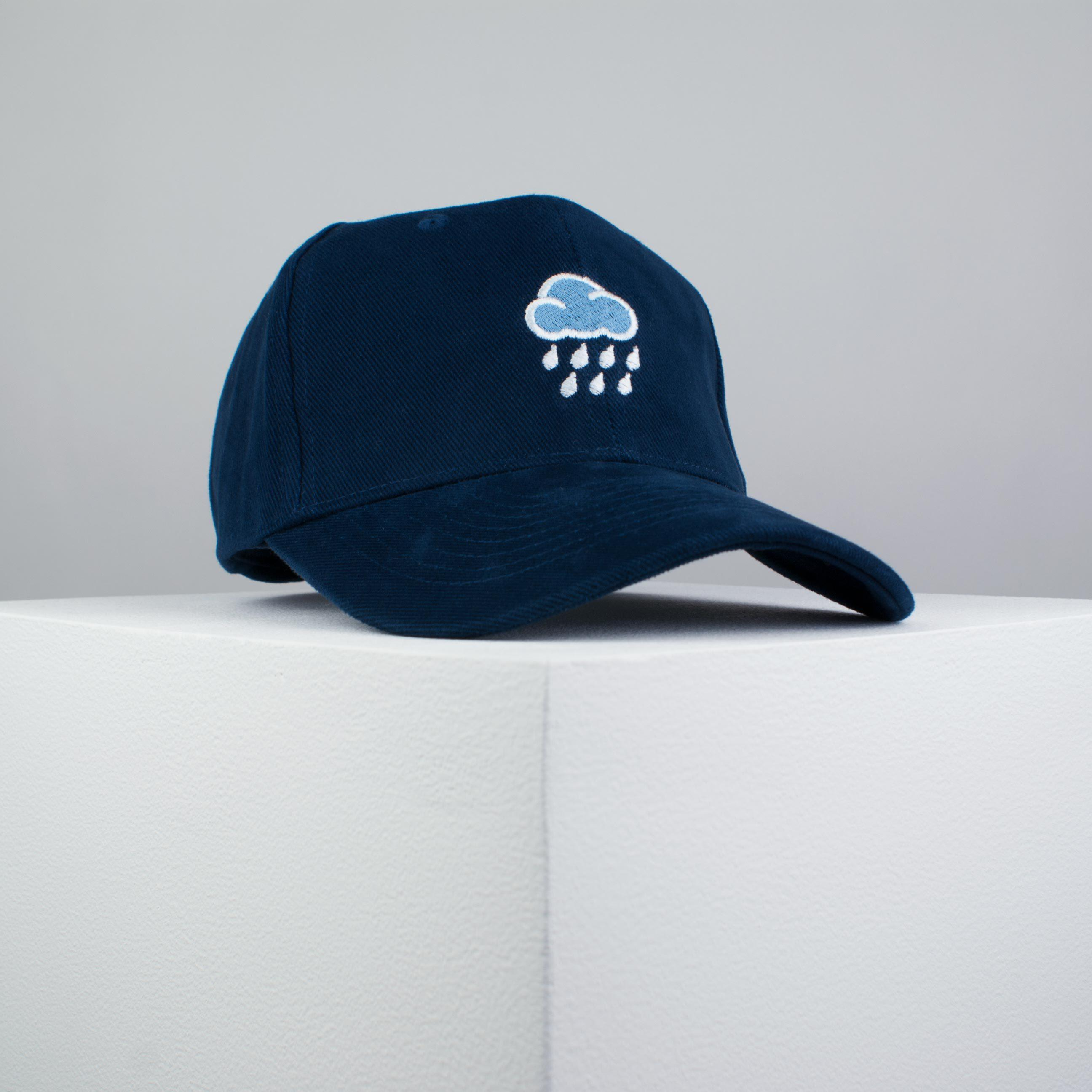 93ac88378ef Rainy day embroidered baseball cap navy   cloud   patches   anxiety    embroidery   patch ...