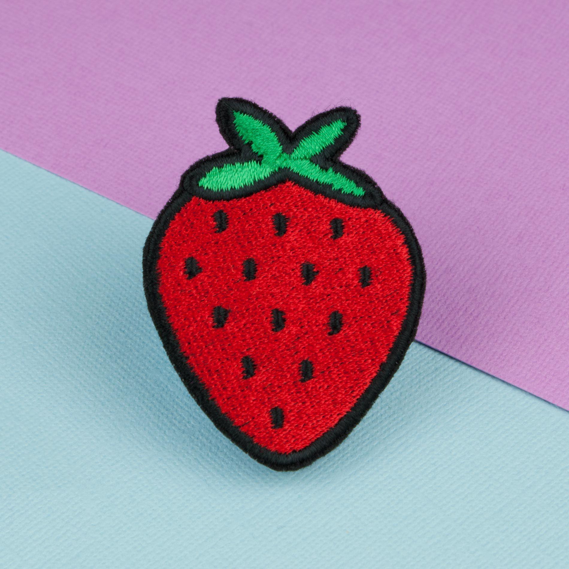 Strawberry iron on patch / vegan / patches / food / embroidery.