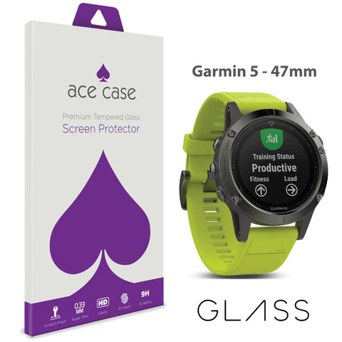 Garmin Fenix 5 - 47mm Tempered Glass Screen Protector by Ace Case