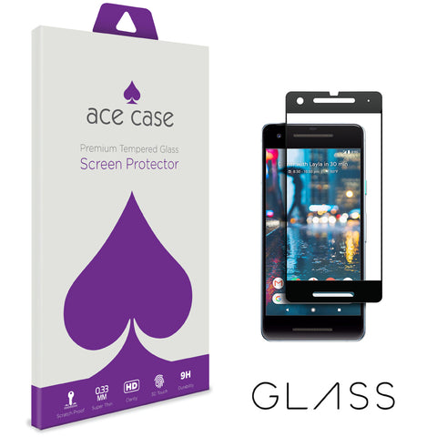 Google Pixel 2 Tempered Glass Screen Protector - BLACK Full 3D Edge to Edge Coverage by Ace Case